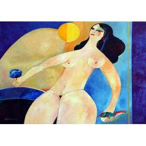 Aldemir Martins, Figura Feminina, Acrílica sobre tela, 80 alt X 100 larg (cm), acid