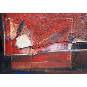 Dina Oliveira, Materia Encarnada, Óleo sobre tela e colagem, 100 alt X 120 larg (cm), acid e verso, Ano: 1990