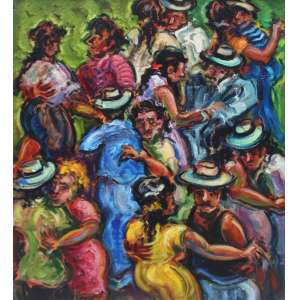 Sérgio Telles, Baile, Óleo sobre tela, 72 alt X 60 larg (cm), ass. no verso, Ano: 2000