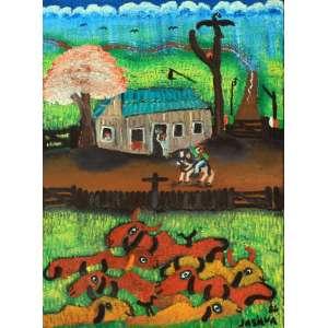 José Antônio da Silva, Fazenda, Óleo sobre tela, 70 alt X 50 larg (cm), acid e verso, Ano: 1986 -Histórico: (Com selo da galeria Renot no verso e Certificado e Recibo, Exposição Individual Março 1988)
