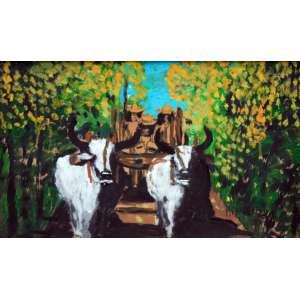 Ranchinho, Carro de Boi, Óleo sobre tela, 35 alt X 50 larg (cm), acid, Ano: 1980