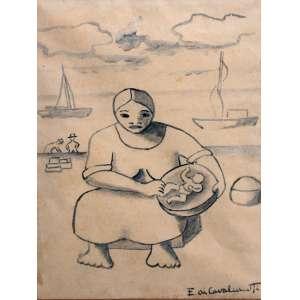 Emiliano Di Cavalcanti, Maternidade, Nanquim sobre papel, 18 alt X 13 larg (cm), acid