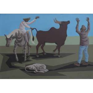 Clóvis Graciano, Vaqueiros, Óleo sobre tela, 50 alt X 65 larg (cm), acie, Ano: 1974 -Histórico: Com selo do Catalogação do Projeto do Artista no Verso.