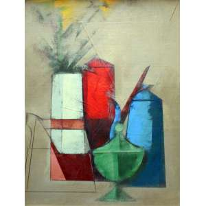 Carlos Scliar, Grupo de Objetos Reunidos, Vinil, 75 alt X 55 larg (cm), acid e verso, Ano: 1985