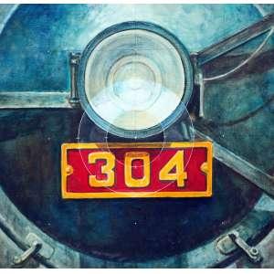 Glauco Pinto de Moraes, Locomotiva 304, Óleo sobre tela, 50 alt X 50 larg (cm), ass. no verso, Ano: 1984