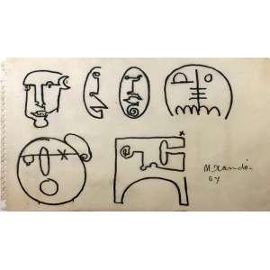 Niobe Xandó, Figuras, Nanquim, 15 alt X 22 larg (cm), acid, Ano: 1957