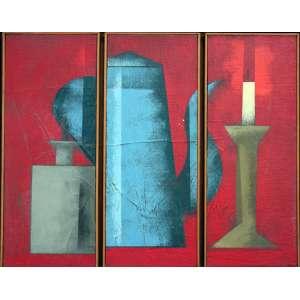 Carlos Scliar, Composição Triplica, Vinil encerado sobre placa, 34 alt X 42 larg (cm), acid e verso, Ano: 1985