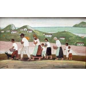 Fúlvio Pennacchi, Retirantes, Óleo sobre placa, 20 alt X 30 larg (cm), acie, Ano: 1985 -Histórico: Com selo do Artista no Verso