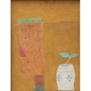Thomaz Ianelli, Figura e Vaso, Óleo sobre tela, 32 alt X 23 larg (cm), acie