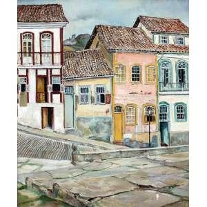 Yoshiya Takaoka, Fachada em Ouro Preto, Óleo sobre tela, 60 alt X 50 larg (cm), acie, Ano: 1987