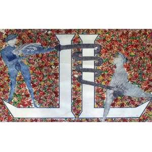 Nelson Leirner, Projeto Alfabetização, Técnica mista sobre papel, 70 alt X 100 larg (cm), acid, Ano: 1990 - -Histórico: Obra apresenta pequenos Detalhes