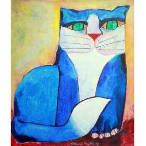 Aldemir Martins, Gato Azul, Acrílica sobre tela, 55 alt X 46 larg (cm), acid e verso, Ano: 1998 -Histórico: Com numero do atelier do Artista (OBRA SEM MOLDURA)