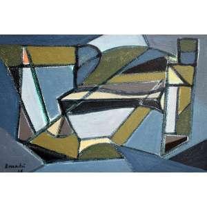 Aldo Bonadei, Composição Geometrica, Óleo sobre placa, 23 alt X 29 larg (cm), acid, Ano: 1955