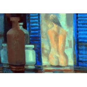 Enrico Bianco, Figura Feminina na Janela, Óleo sobre placa, 24 alt X 35 larg (cm), acie e verso, Ano: 1994 -Histórico: Acompanha certificado emitido pelo Filho do Artista Paulo Bianco.