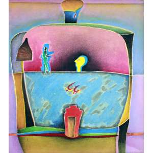 Maria Tomaselli, A chave da porta, Acrílica sobre tela, 70 alt X 60 larg (cm), acid e verso, Ano: 1994