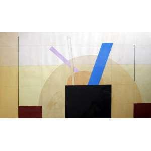 Tuneu, Composição geométrica, Técnica mista sobre papel, 50 alt X 70 larg (cm), acie, Ano: 1974 - Histórico: Obra apresente pequenos pontos de acidez