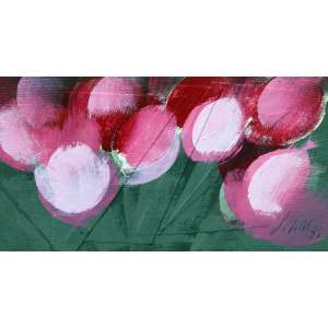 Carlos Scliar, Rosas, Vinil Encerado s/ Tela, 18 alt X 27 larg (cm), acid e verso, Ano: 1972
