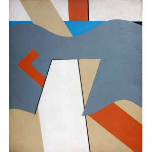 Tuneu, Geométrico, Óleo sobre tela, 40 alt X 30 larg (cm), ass. no verso, Ano: 1972