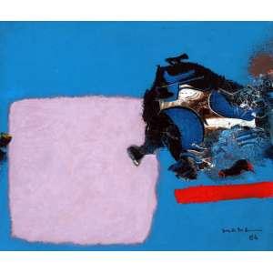 Manabu Mabe, Composição em Azul, Óleo sobre tela, 51 alt X 51 larg (cm), acid e verso, Ano: 1986 -Histórico: Obra registrada no instituto do artista e reproduzida no catalogo da Galeria James Lisboa