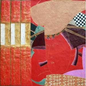 Kazuo Wakabayashi, KABUKI, Óleo sobre tela, 73 alt X 73 larg (cm), acid e verso, Ano: 2001