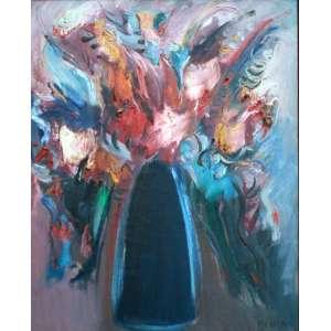Carlos Bracher, Vaso de Flores, Óleo sobre tela, 92 alt X 73 larg (cm), acid e verso, Ano: 1996