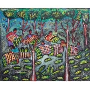Nilson Pimenta, Colheita de melancia, Óleo sobre tela, 36 alt X 56 larg (cm), aci , Ano: 1993