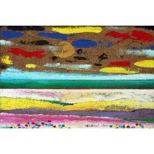 Aldemir Martins, Paisagem, Óleo sobre tela, 45 alt X 54 larg (cm), acie e verso, Ano: 1987