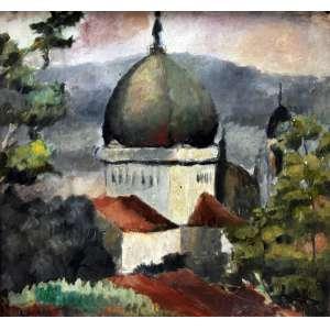 Carlos Prado, Igreja, Óleo sobre placa, 27 alt X 32 larg (cm), acie, Ano: 1945