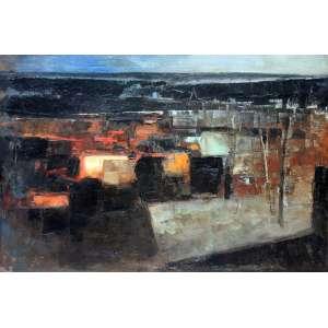 Dario Mecatti, Paesaggio, Óleo sobre tela, 60 alt X 80 larg (cm), acie e verso, Ano: 1974 -Histórico: Obra apresenta Desgaste na Tela