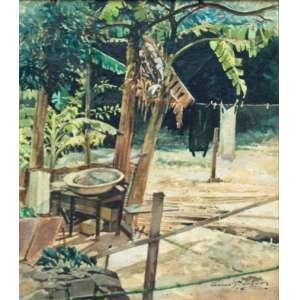 Oscar Pereira da Silva, Quintal, Técnica mista s/cartão s/madei, 34 alt X 27 larg (cm), acid