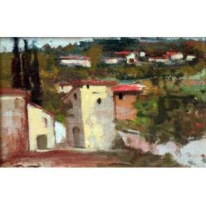 Dario Mecatti, Casario, Óleo sobre cartão, 23 alt X 28 larg (cm), acie