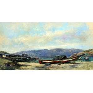 Joao Bosco Campos, Barco de Pesca, Óleo sobre tela, 50 alt X 100 larg (cm), acie e verso, Ano: 2002