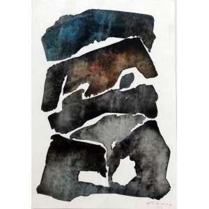 Samson Flexor, Composição, Técnica mista sobre papel, 25 alt X 18 larg (cm), acid, Ano: 1968 - -Histórico: Com dedicatória do Artista no Verso,Reproduzida no catalago do James Lisboa.