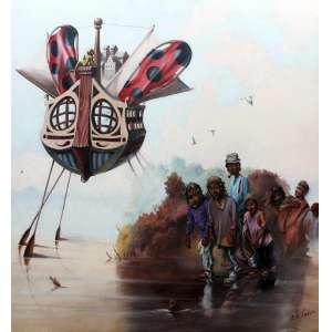 Edu Cardoso, O Navio encantado, Óleo sobre tela, 60 alt X 60 larg (cm), acid e verso