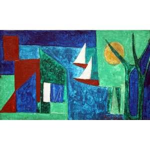 Alice Brill, Composição com Veleiro, Óleo sobre tela, 18 alt X 33 larg (cm), acid