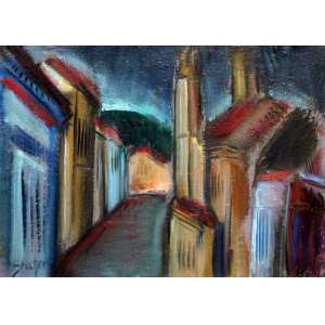 Carlos Bracher, Igreja do Carmo, Óleo sobre tela, 46 alt X 33 larg (cm), acie e verso, Ano: 1988