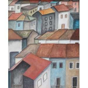 Alice Brill, Casario, Óleo sobre tela, 50 alt X 40 larg (cm), acie, Ano: 1985