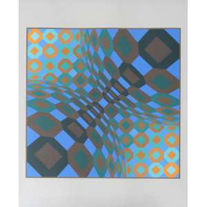 Victor Vasarely, Geométrico, Litografia, 75 alt X 61 larg (cm), acid, 21/200
