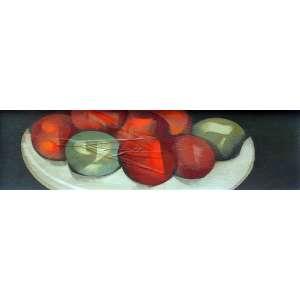 Carlos Scliar, Tomates e Limões, Vinil Encerado s/ Tela, 13 alt X 37 larg (cm), acid e verso, Ano: 1977