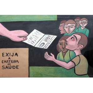 Raimundo Oliveira, Exija a carteira, Técnica mista sobre papel, 55 alt X 77 larg (cm), acid -Histórico: Obra reproduzida no catalogo do leilão da galeria Soraia Cals em setembro de 2016)