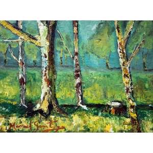 Manoel Santiago, Floresta, Óleo sobre madeira, 23 alt X 32 larg (cm), acid e verso