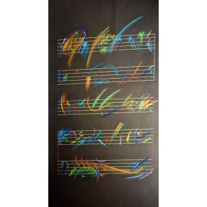 Antônio Peticov, Partitura, Técnica mista sobre papel, 97 alt X 57 larg (cm), acid, Ano: 1988