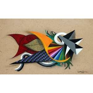 Gen Duarte, Composição, Tecnica mista papel artesanal, 55 alt X 74 larg (cm), acid, Ano: 2012
