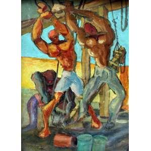 Eugênio de Proença Sigaud, Homens Trabalhando, Óleo sobre placa, 22 alt X 16 larg (cm), acie e verso, Ano: 1972