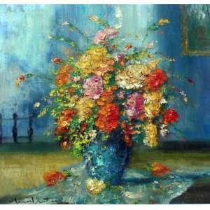 Manoel Santiago, Vaso de Flores, Óleo sobre madeira, 36 alt X 36 larg (cm), acie e verso, Ano: 1963