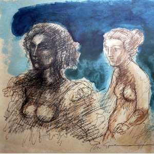 Marcelo Grassmann, Guerreiro Figura Feminina, Têmpera sobre papel, 33 alt X 33 larg (cm), acid