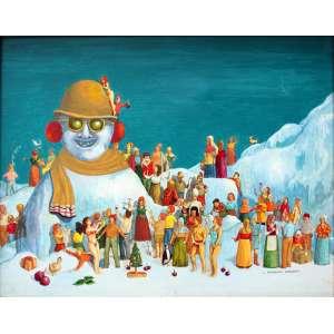 Luiz Fernando Borgerth, Homens de Gelo, Acrílica sobre tela, 32 alt X 40 larg (cm), acid e verso, Ano: 1996