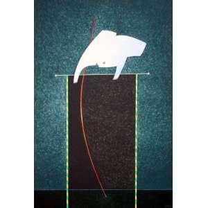 Fernando Coelho, O Grande Salto, Acrílica sobre tela s/ placa, 75 alt X 50 larg (cm), acid e verso, Ano: 1979