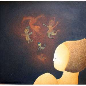 Fernando Coelho, Sonho de Menina, Óleo s/ tela colada em placa, 58 alt X 58 larg (cm), acie e verso, Ano: 1981
