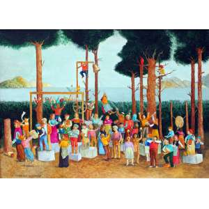Luiz Fernando Borgerth, Poluição Sonora, Acrílica sobre tela, 28 alt X 35 larg (cm), acie e verso, Ano: 1996